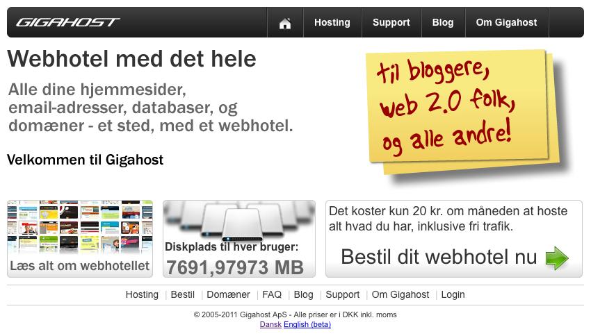 Forsiden på gigahost.dk
