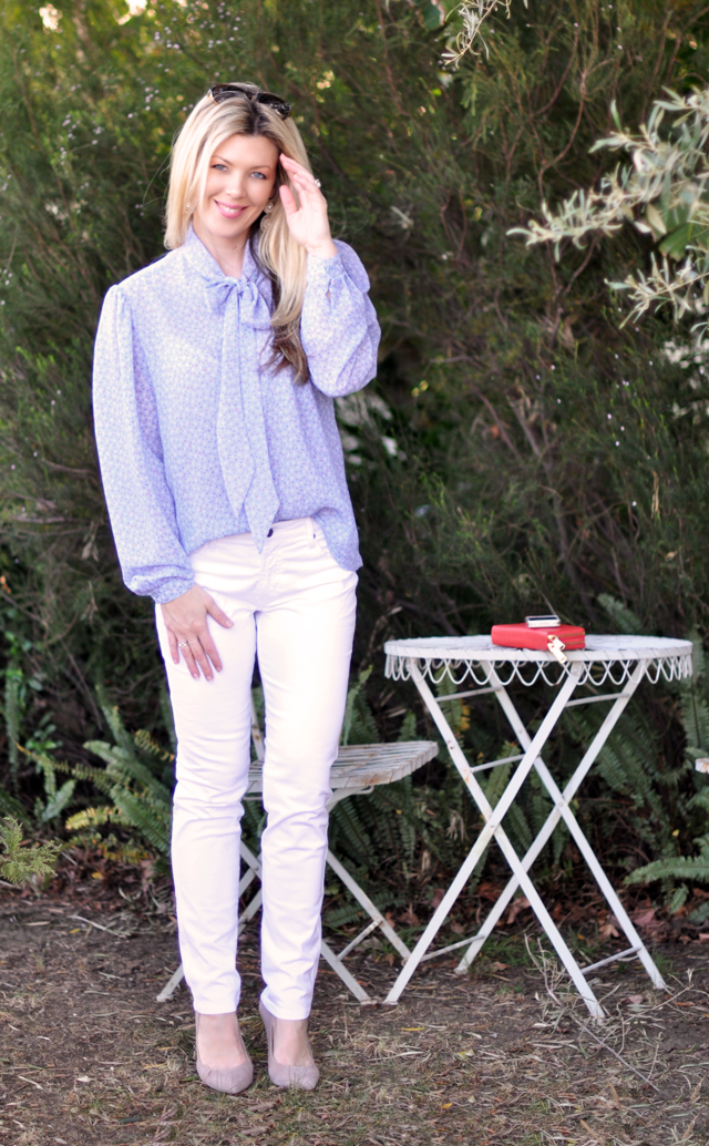 white pants for spring- blue vintage bow blouse-simple pretty outfit