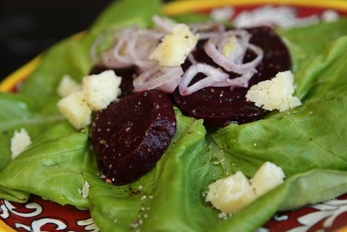 Beet Salad with Butter Lettuce, Shallots, and Beets
