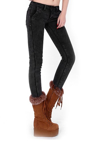 Shearling Lining Mid Rise Jeans-oasap.com