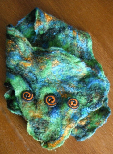 Hand felted Cowl with hand made poly clay buttons