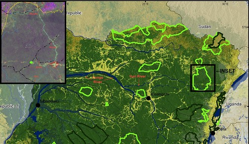 map of northern DRC with Okapi Reserve inset
