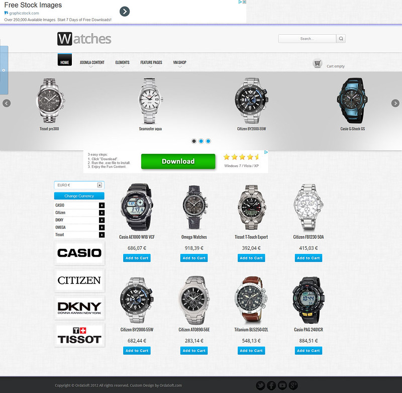 Watches Shop Free VirtueMart Template for Joomla