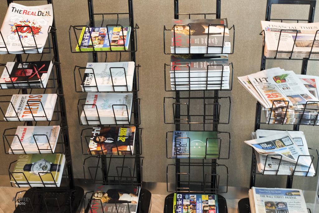 Magazine rack at United Club