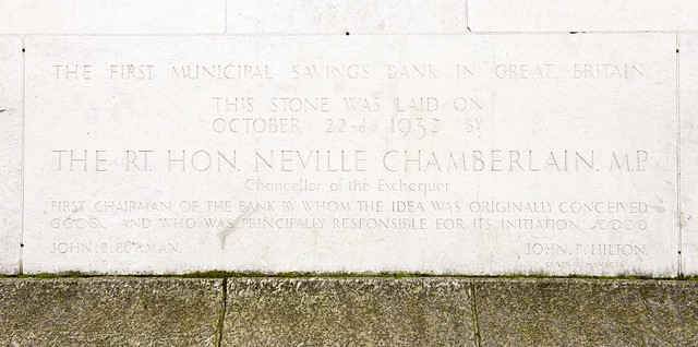 Plaque to mark the Municipal Savings Bank - the first in Great Britain