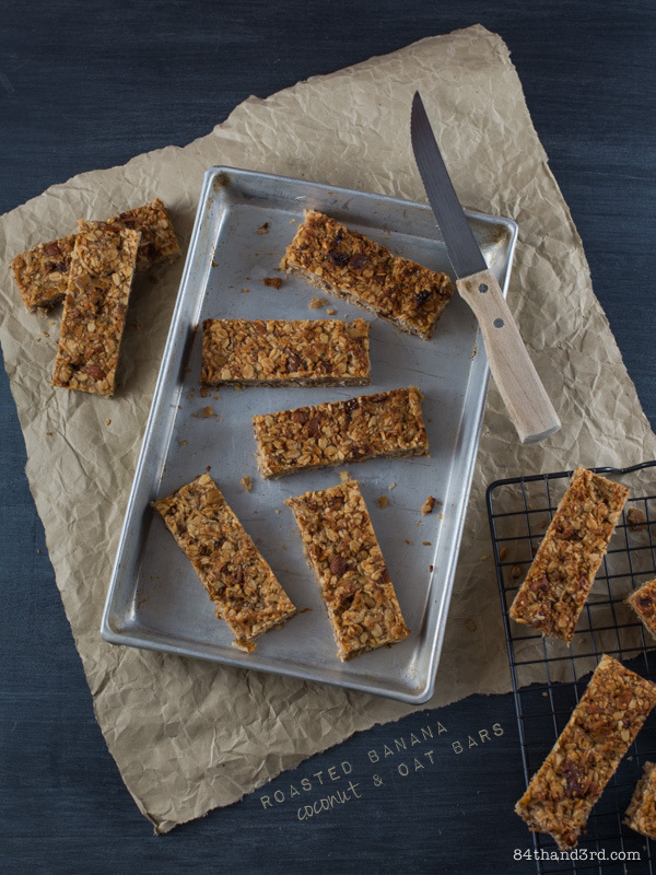 Roasted Banana, Coconut & Oat Bars