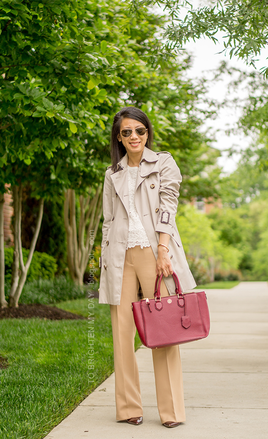 trench coat, lace top, camel trousers, burgundy red tote, rose gold jewelry, burgundy pumps