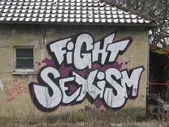 "Building with graffit ""Fight Sexism"""