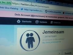 Twitter sperrt meinen @jemeinsam Account
