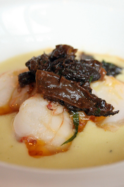 Slow cooked slipper lobster with leek veloute and morel mushroom