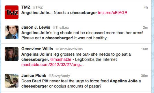 tweets about Jolie and cheeseburgers