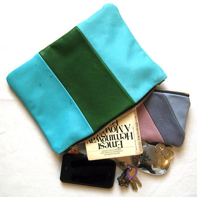 blue/green zip pouch