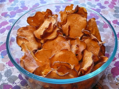 Sweet Potato Chips straight from the dehydrator