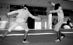 weapon combat sports, individual sports, contact sport, white, sports, combat sport, monochrome photography, fencing, monochrome, black-and-white, black, performance art,