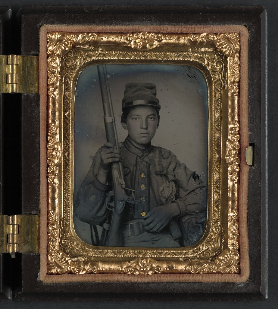 [Sergeant William T. Biedler, 16 years old, of Company C, Mosby's Virginia Cavalry Regiment with musket] (LOC)