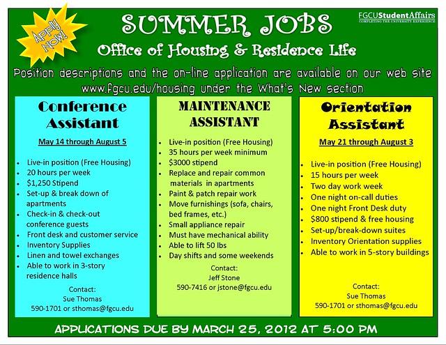 Summer Jobs 2012