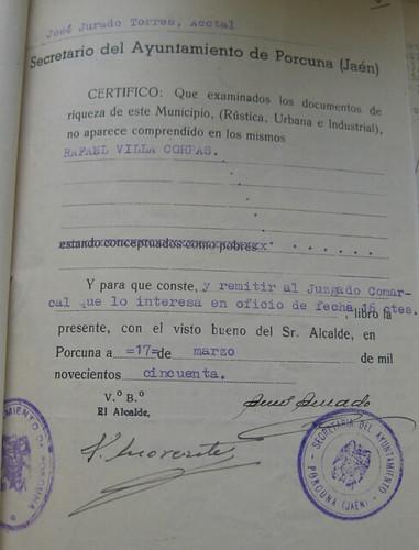 Declarción de insolvencia por el Juzgado de Porcuna de Rafael Villa Corpas