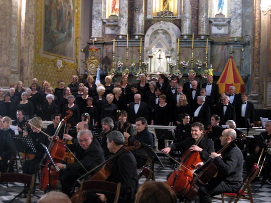 Jonathan Griffith Singers performs with the Sinfonica de Buenos Aires in the Basilica Jose de Flores in Buenos Aires, Argentina
