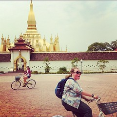 The bike gang at the Laos national monument