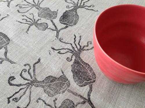 succulent blossom print on linen