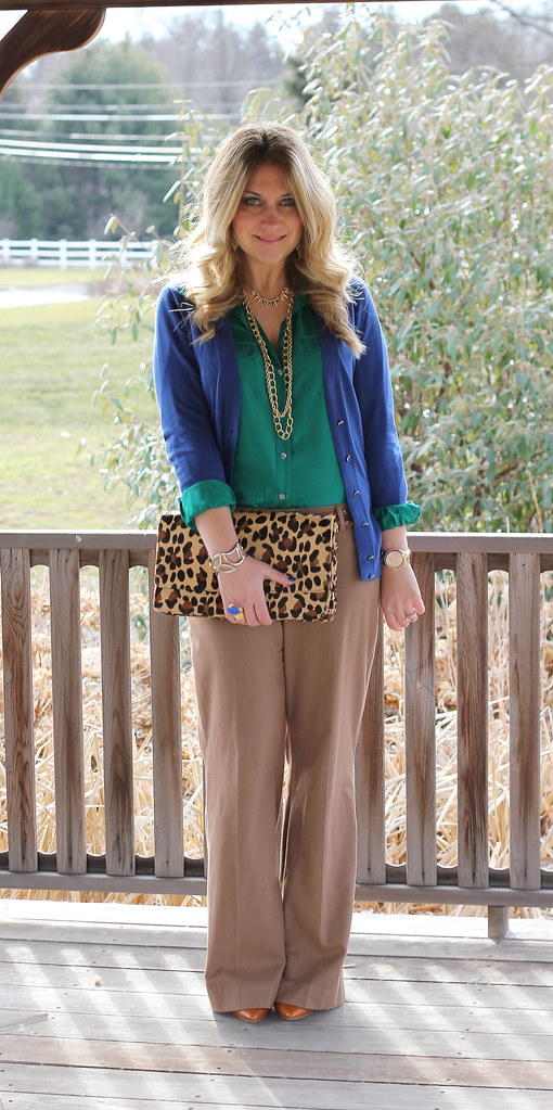 green, blue, and camel work outfit