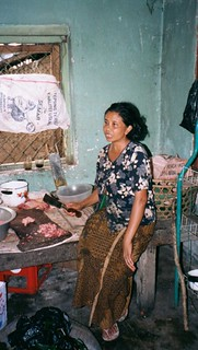 chicken lady in Minority village in northern Bali