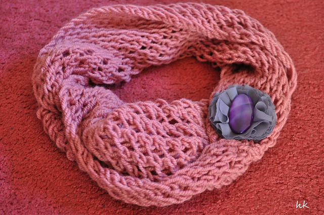 Handmade circle scarf and hk brooche