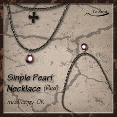 Simple Pearl Necklace_Red