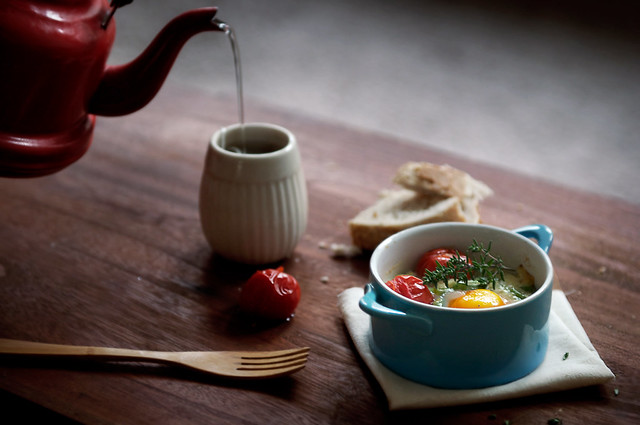 Baked eggs with romano beans, parmesan and roasted tomatoes - Creative Still Life Photography