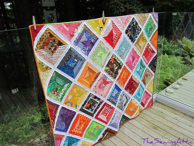 String quilt, quilted and bound