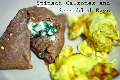 Spinach Calzones and Scrambled Eggs