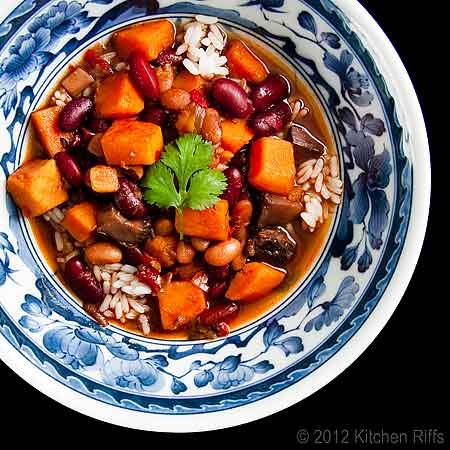 Red-Braised Beans and Sweet Potatoes in Chinese Rice Bowl, Overhead View