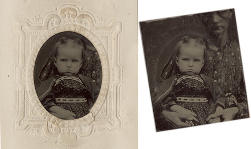 Hidden Mother Revealed - Grumpy Baby, Small Tintype In and Out of the Mat