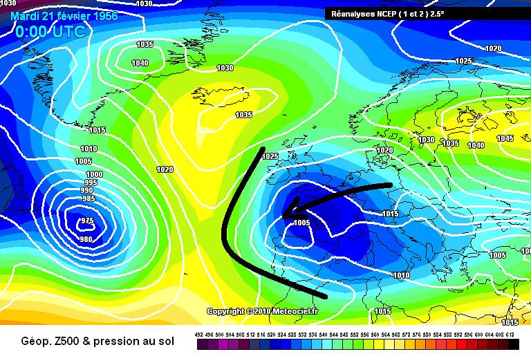 situation synoptique du 20 février 1956, lors d'abondantes chutes de neige en Aquitaine météopassion