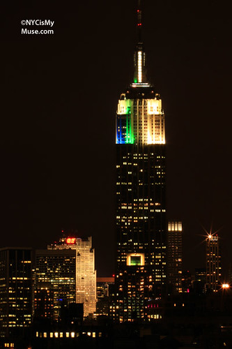 Empire State Building Light Show: Green, Blue, White