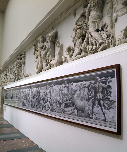 Yadegar Asisi's artistic attempt to restore the north frieze, Pergamon: Panorama of the Ancient City Exhibition, Pergamon Museum, Berlin