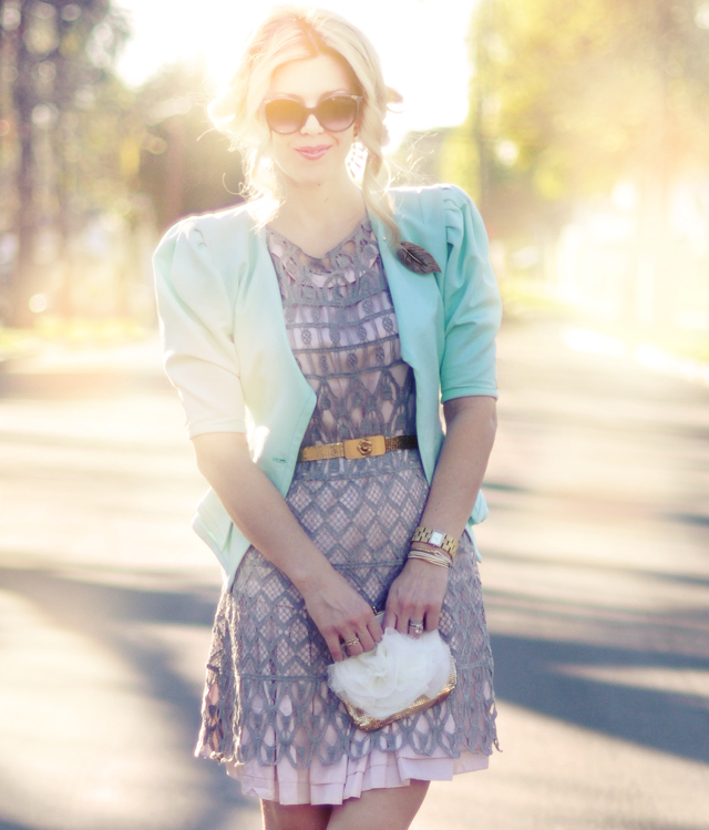 pastel outfit -pink and mint and gray and gold