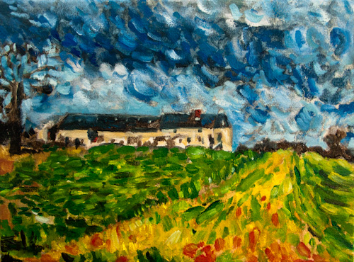 France, landscape / painting unfinished