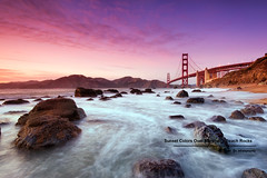 Sunset Colors Over Marshall's Beach Rocks with Golden Gate Bridge