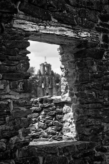 Past the Mission - near focus (B&W)