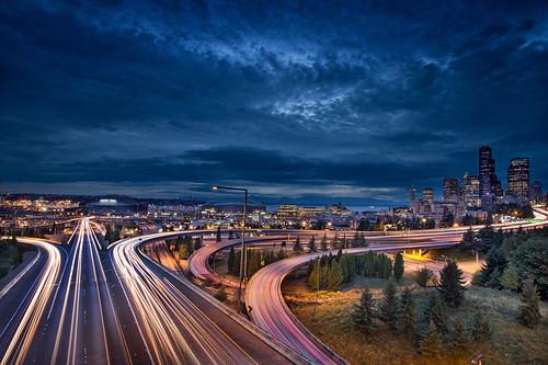 Seattle City Lights and Light Trails at Blue Hour - HDR