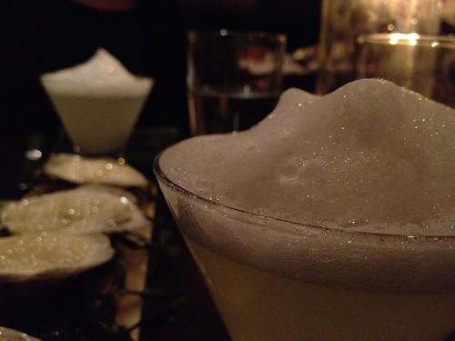 Oysters. Margarita with salt foam.