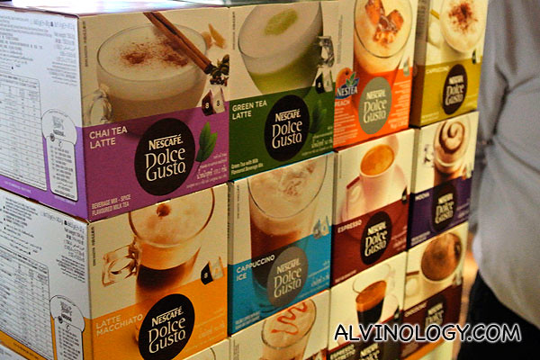 Dolce Gusto capsules of various flavours for sampling