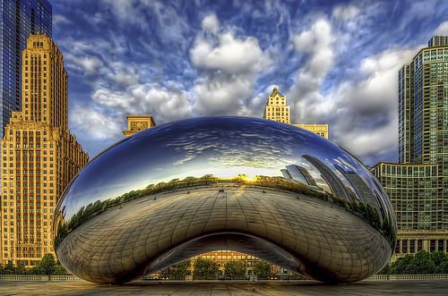 park city cloud chicago reflection art architecture clouds photoshop sunrise buildings illinois nikon skies bean millenniumpark cloudgate hdr lightroom photomatix d7000