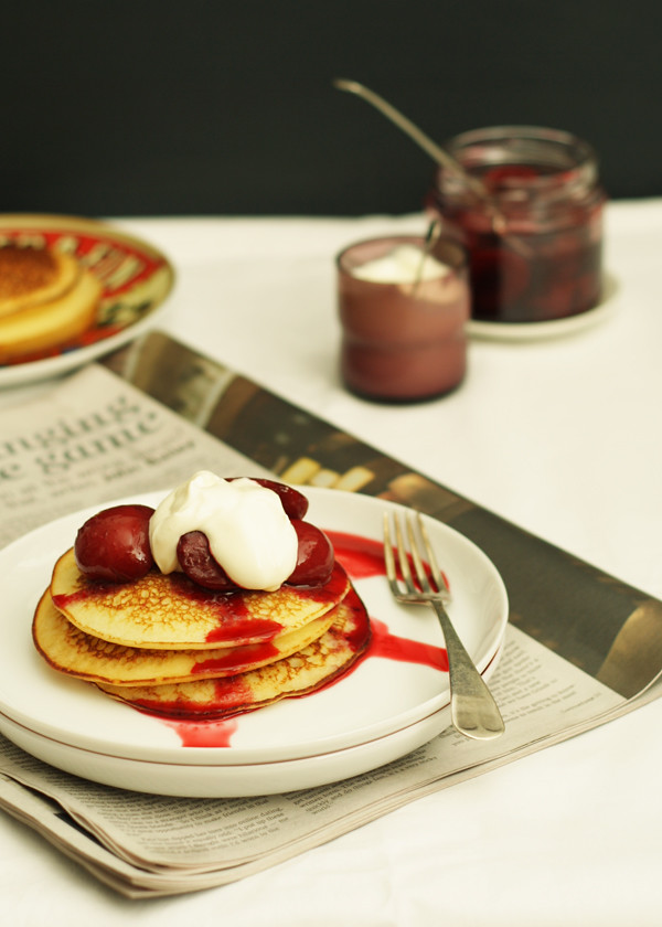 Gluten Free Ricotta Pancakes with Stewed Plums