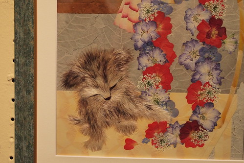 pressed flower design, dog with lei, by Michie Fukuoka