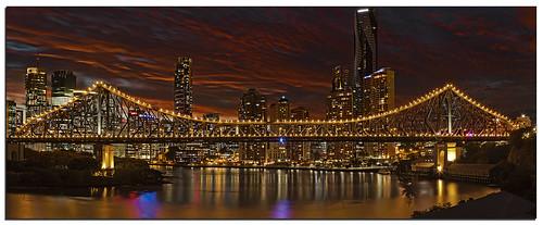 city longexposure bridge blue red sky water lights dusk freaky brisbane story le qld queensland detial