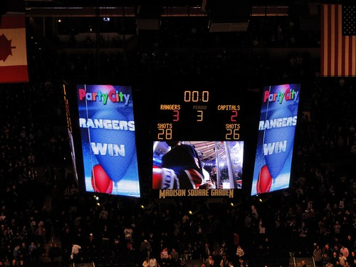 Madison Square Garden Scoreboard New York Rangers Win