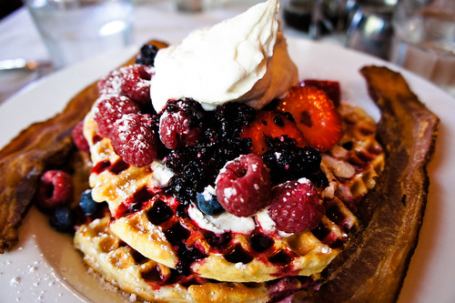 Berry Waffles and a side of bacon!