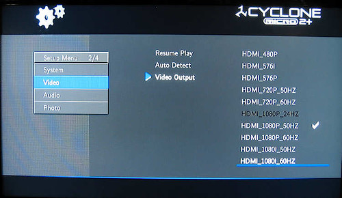 SumVision Cyclone Micro 2+ HD Media Player HDMI Settings screen